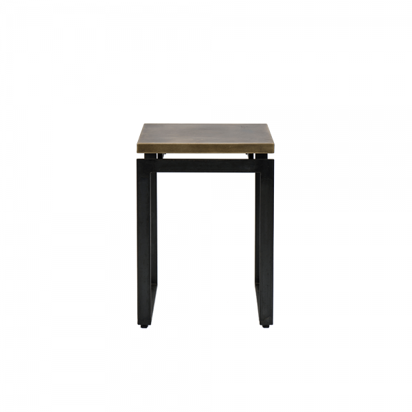Iron Side Table with Brass Surface #3-045