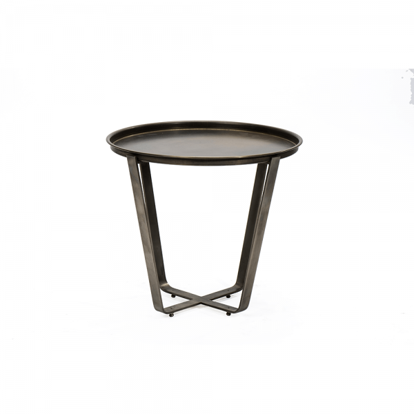 Round Side Table with Brass Tray #3-029