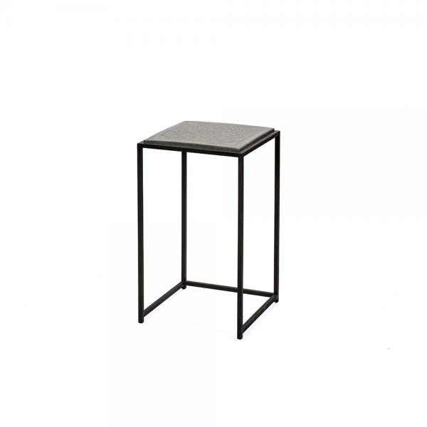 Side Table with Concrete and Brass Surface #3-041