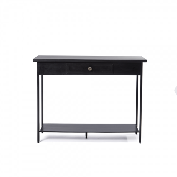 Black Iron Console with Drawer and Knob #3-002