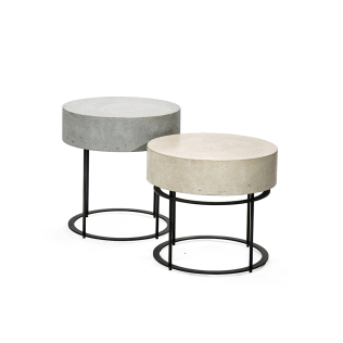 Round Side Table with Concrete Surface #3-055