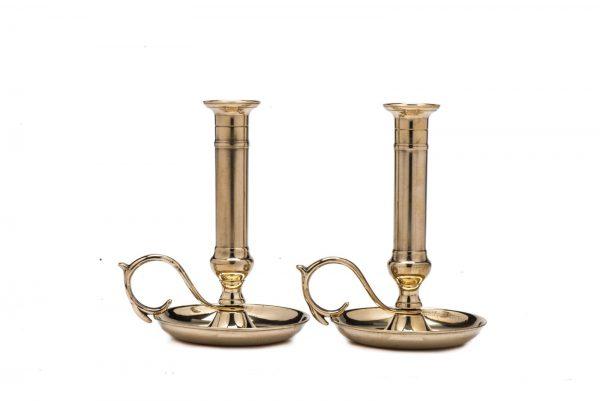 Shiny brass medium candlestick