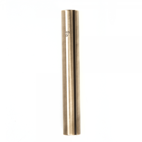 """Antique brass Round Mezuzah For A 15 CM Scroll And a Engraved """"Shin"""""""