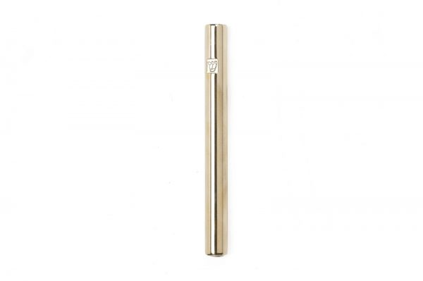 "Shiny brassTubular Mezuzah For A 12 CM Scroll And a Engraved ""Shin"""