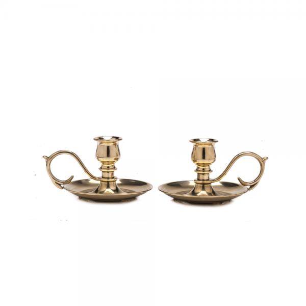 Shiny brass small candlestick