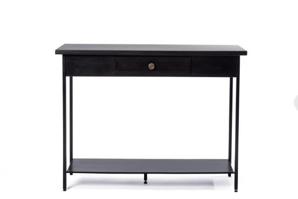 Black Iron Console With A Drawer And A Knob