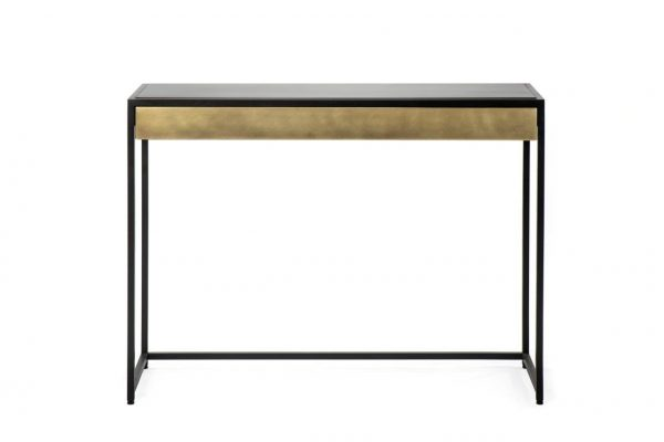Classic black Iron Console With A brass Drawer