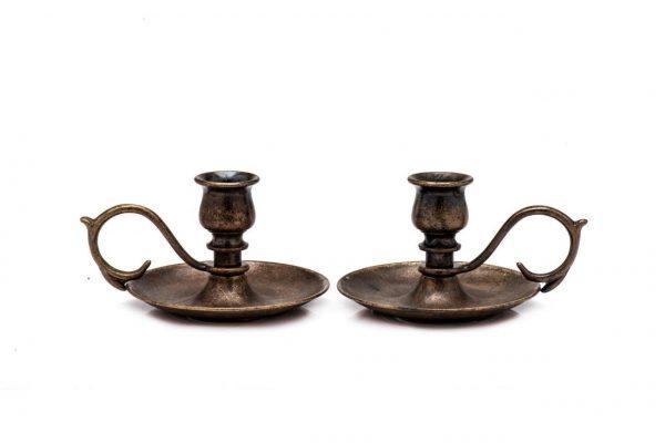 Antique brass small candlestick