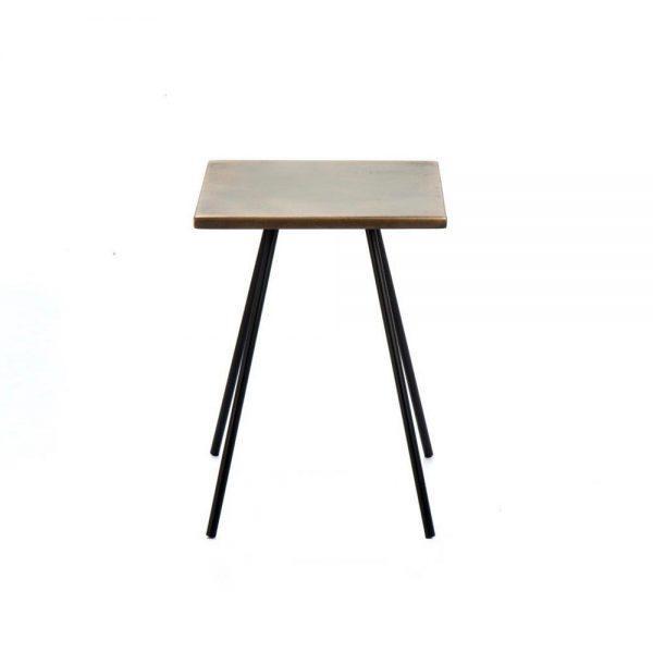 #3-085 שולחן קפה קטן מפליז מיושן בשילוב ברזל