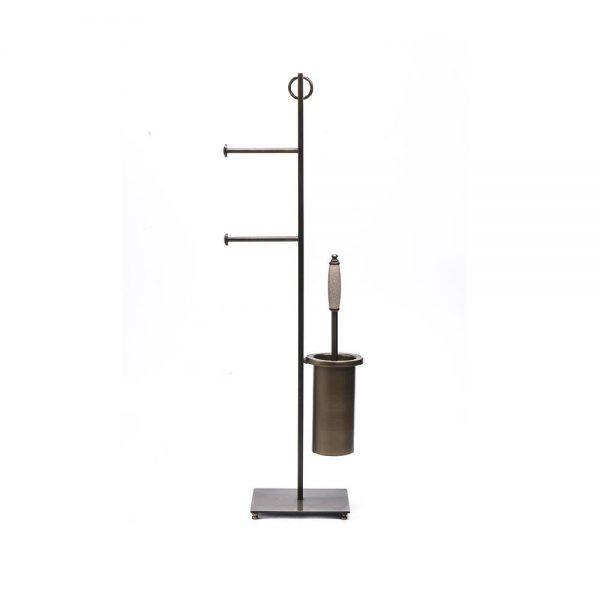 #7-643 מעמד למברשת אסלה ושני גלילי נייר טואלט עם בסיס מרובע