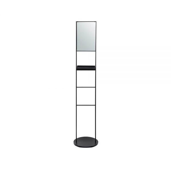 #7-658b סולם עומד למגבות עם בסיס עגול, מדף ומראה