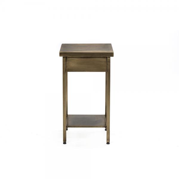 #3-003 שולחן צד מפליז מלא/ ברזל שחור