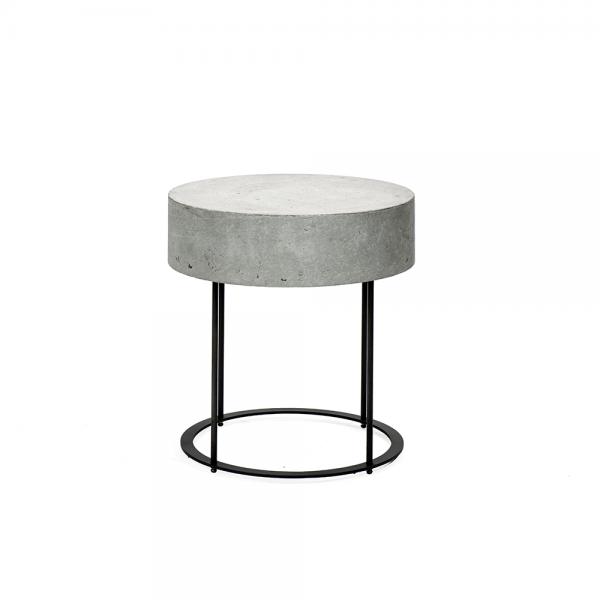 שולחן צד עגול עם משטח בטון #3-055