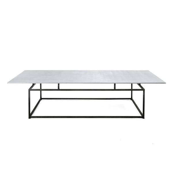 #3-084B שולחן סלון עם משטח אלומיניום מוברש מרחף