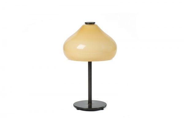 #2-025B מנורת שולחן רטרו זכוכית בשילוב פליז