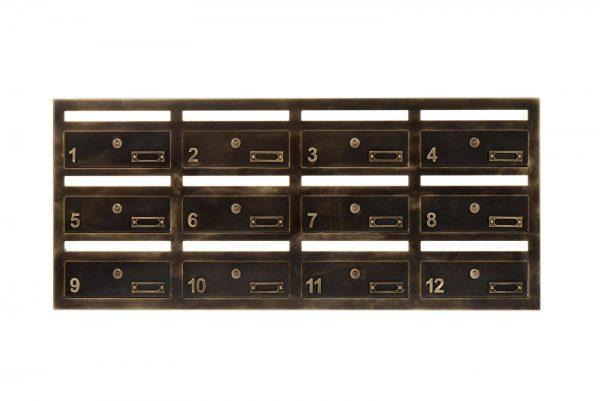 #8-941 פאנל תיבת דואר לבניין בסגנון שימור, מפליז בגימור מיושן